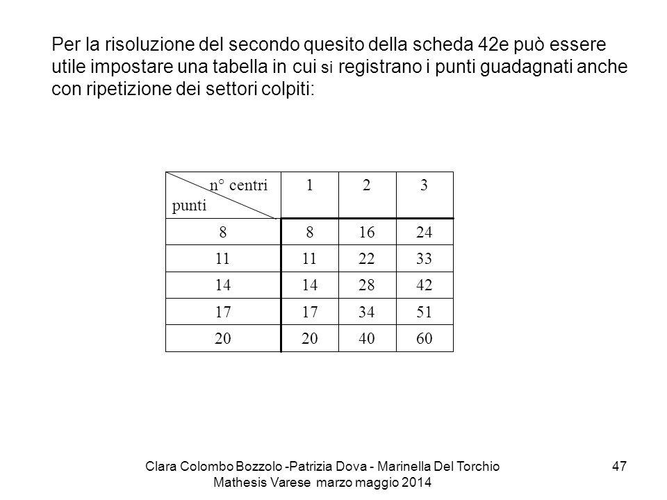 Per la risoluzione del secondo quesito della scheda 42e può essere utile impostare una tabella in cui si registrano i punti guadagnati anche con ripetizione dei settori colpiti: