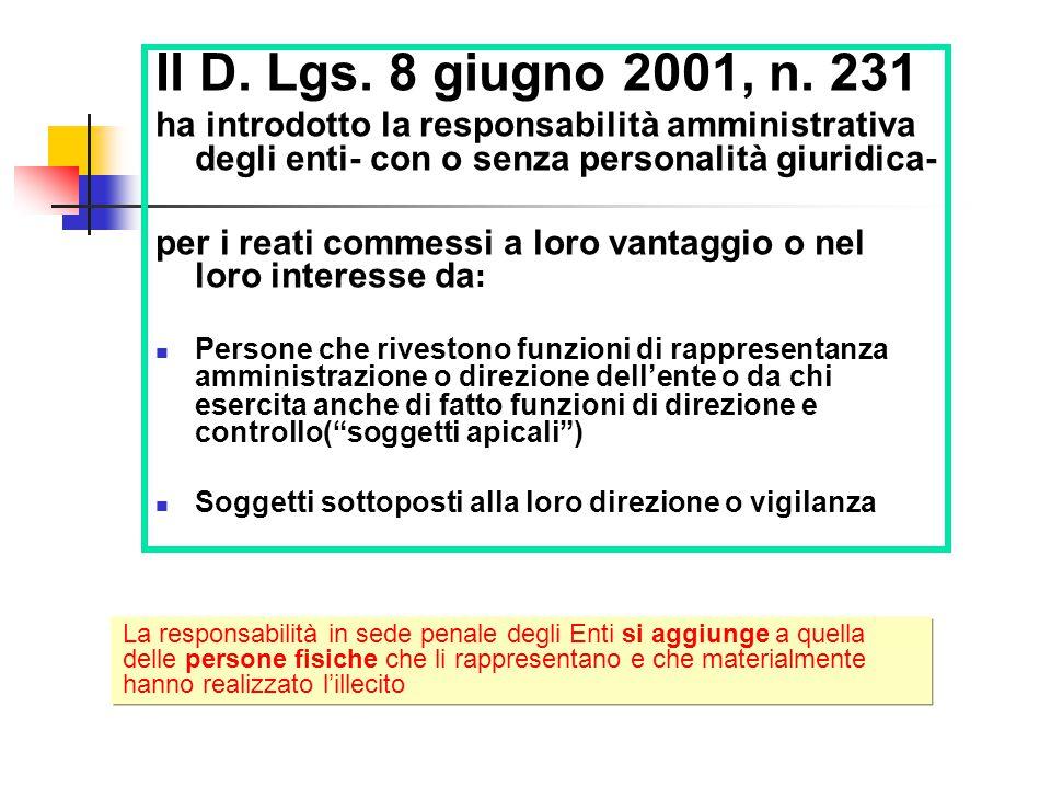 Il D. Lgs. 8 giugno 2001, n. 231 ha introdotto la responsabilità amministrativa degli enti- con o senza personalità giuridica-
