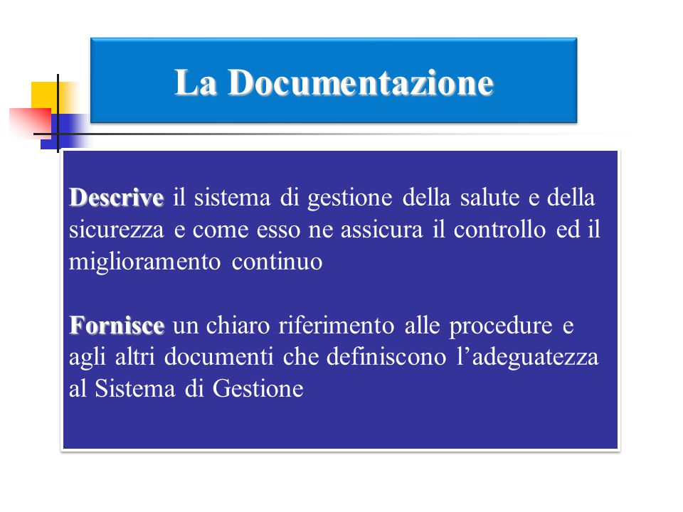 La Documentazione Descrive il sistema di gestione della salute e della sicurezza e come esso ne assicura il controllo ed il miglioramento continuo.