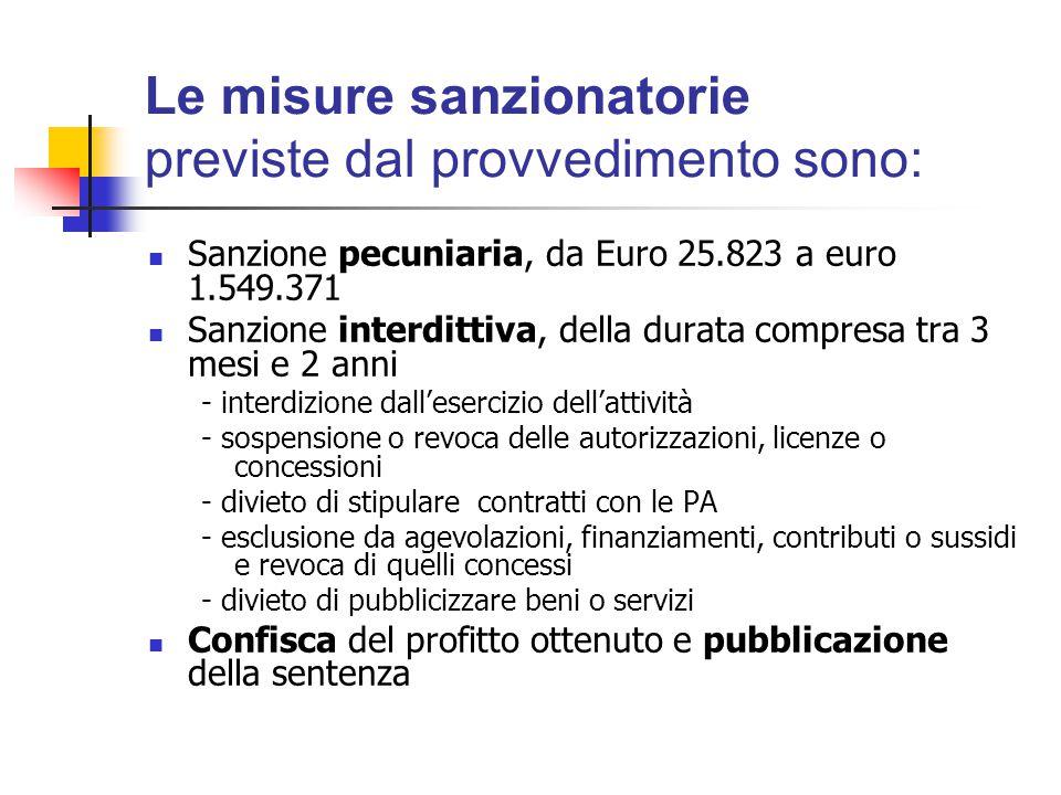 Le misure sanzionatorie previste dal provvedimento sono: