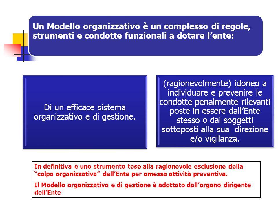 Di un efficace sistema organizzativo e di gestione.