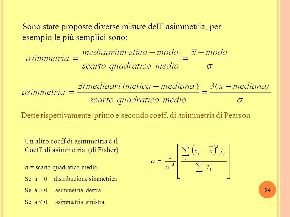 Sono state proposte diverse misure dell' asimmetria, per esempio le più semplici sono: