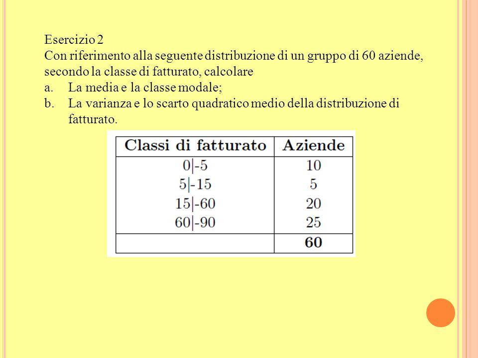 Esercizio 2 Con riferimento alla seguente distribuzione di un gruppo di 60 aziende, secondo la classe di fatturato, calcolare.