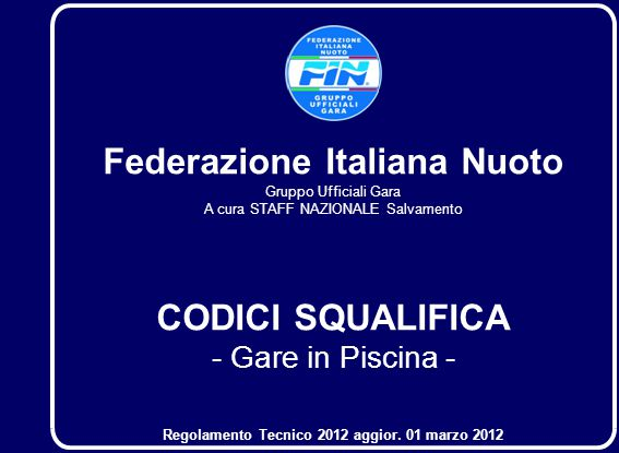 Federazione Italiana Nuoto CODICI SQUALIFICA