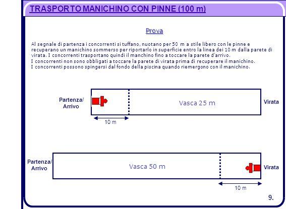 TRASPORTO MANICHINO CON PINNE (100 m)