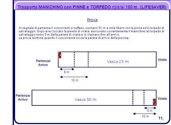 Trasporto MANICHINO con PINNE e TORPEDO r/j/c/s/ 100 m (LIFESAVER)