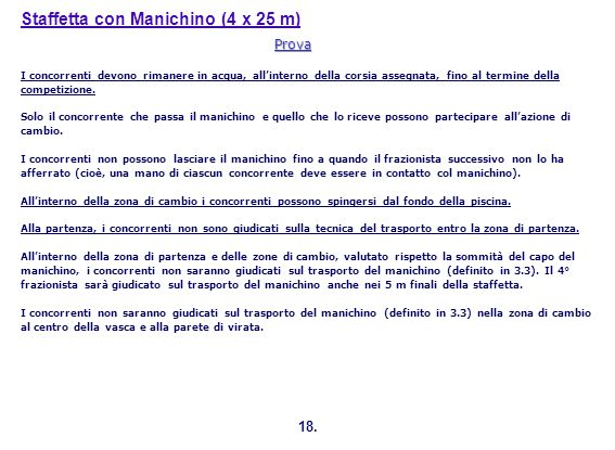 Staffetta con Manichino (4 x 25 m)