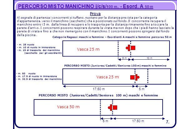 PERCORSO MISTO MANICHINO j/c/s/100 m. - Esord. A 50 m