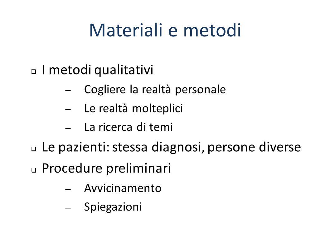 Materiali e metodi I metodi qualitativi