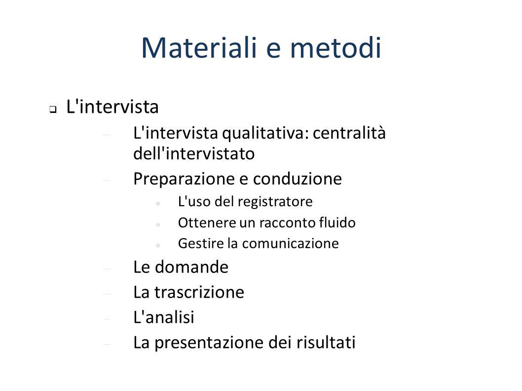 Materiali e metodi L intervista