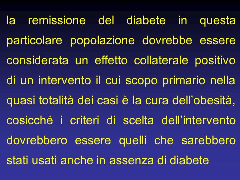 la remissione del diabete in questa particolare popolazione dovrebbe essere considerata un effetto collaterale positivo di un intervento il cui scopo primario nella quasi totalità dei casi è la cura dell'obesità, cosicché i criteri di scelta dell'intervento dovrebbero essere quelli che sarebbero stati usati anche in assenza di diabete