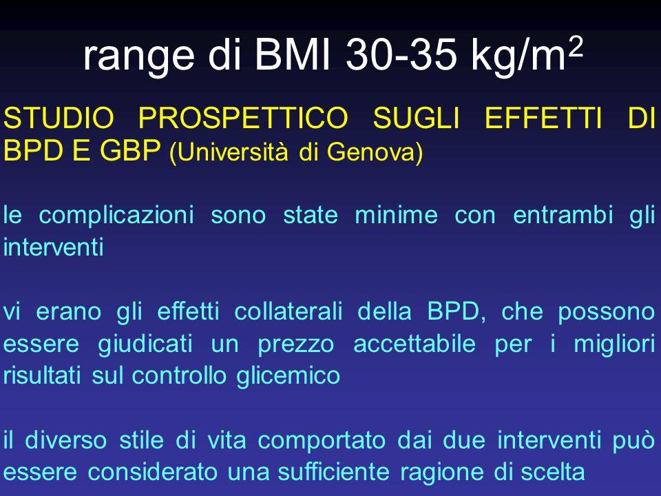 range di BMI 30-35 kg/m2 STUDIO PROSPETTICO SUGLI EFFETTI DI BPD E GBP (Università di Genova)