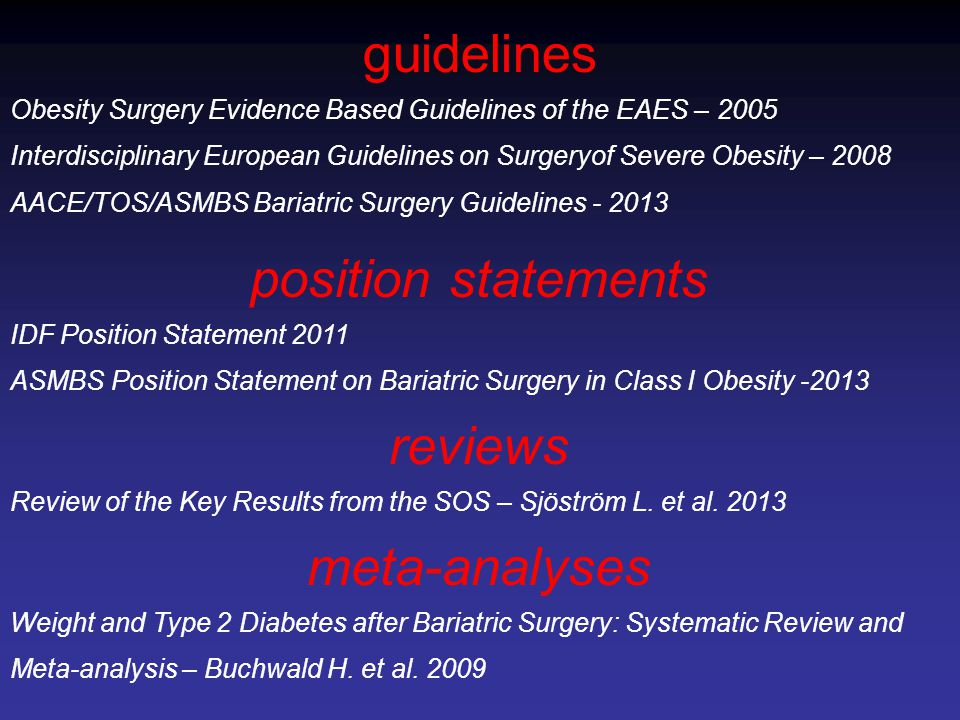 guidelines position statements reviews meta-analyses