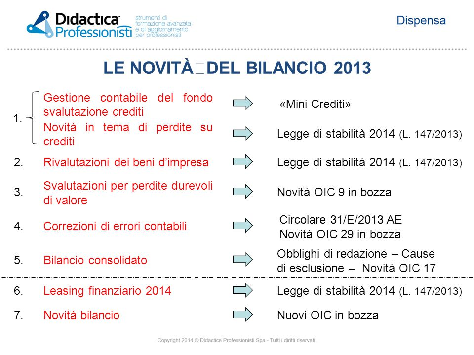 LE NOVITÀDEL BILANCIO 2013