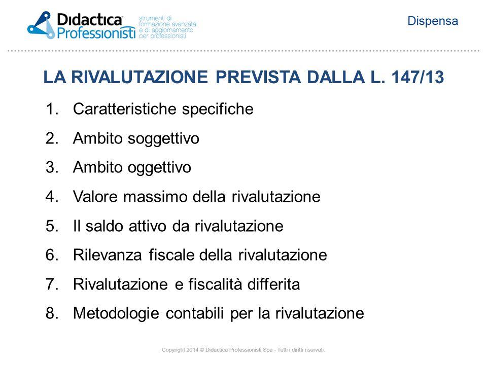 LA RIVALUTAZIONE PREVISTA DALLA L. 147/13