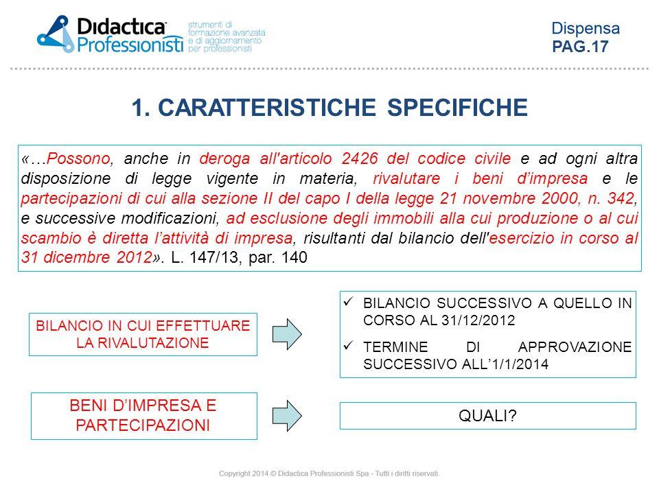 1. CARATTERISTICHE SPECIFICHE