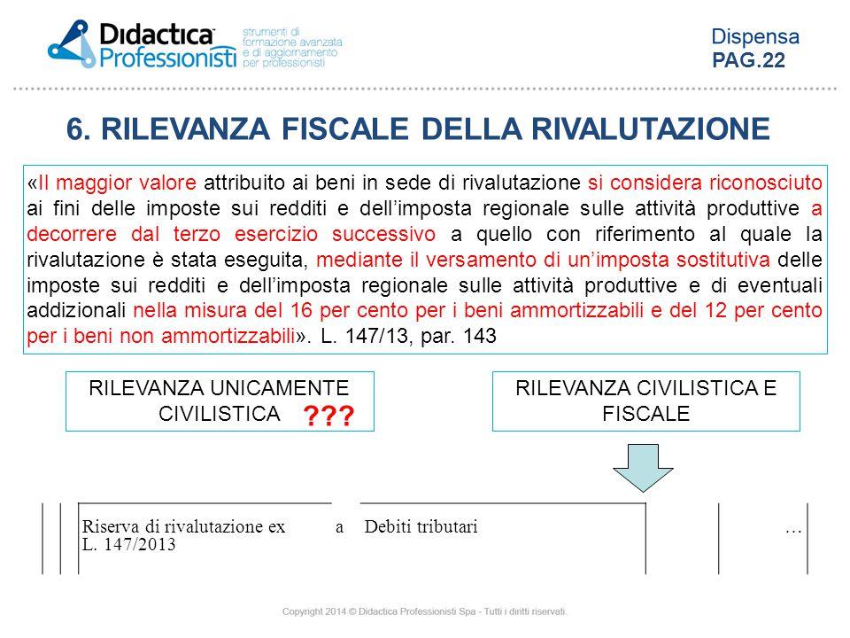 6. RILEVANZA FISCALE DELLA RIVALUTAZIONE
