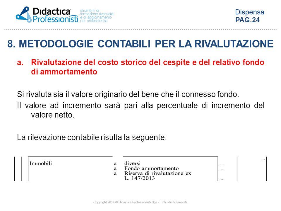 8. METODOLOGIE CONTABILI PER LA RIVALUTAZIONE