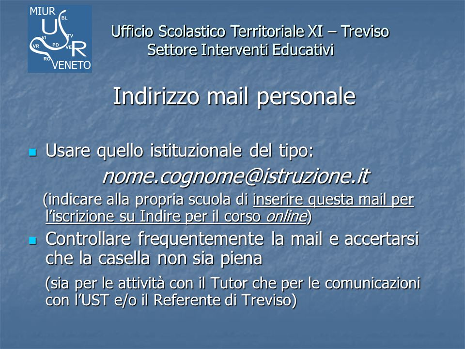 Indirizzo mail personale
