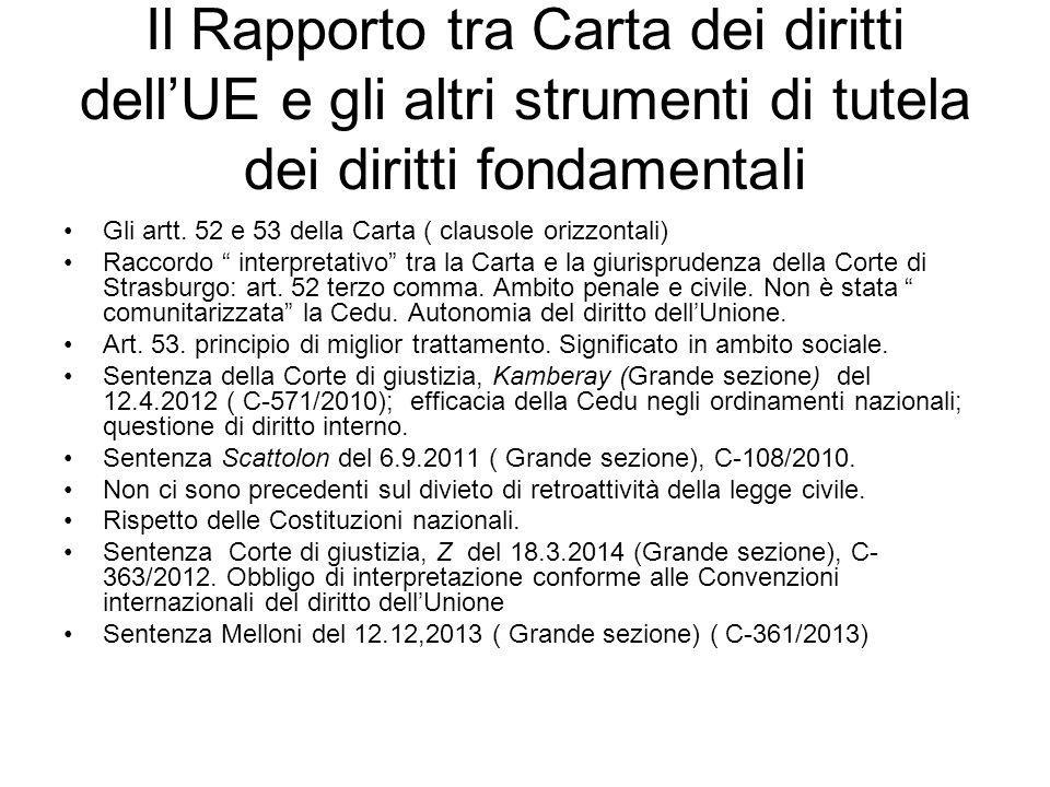 Il Rapporto tra Carta dei diritti dell'UE e gli altri strumenti di tutela dei diritti fondamentali