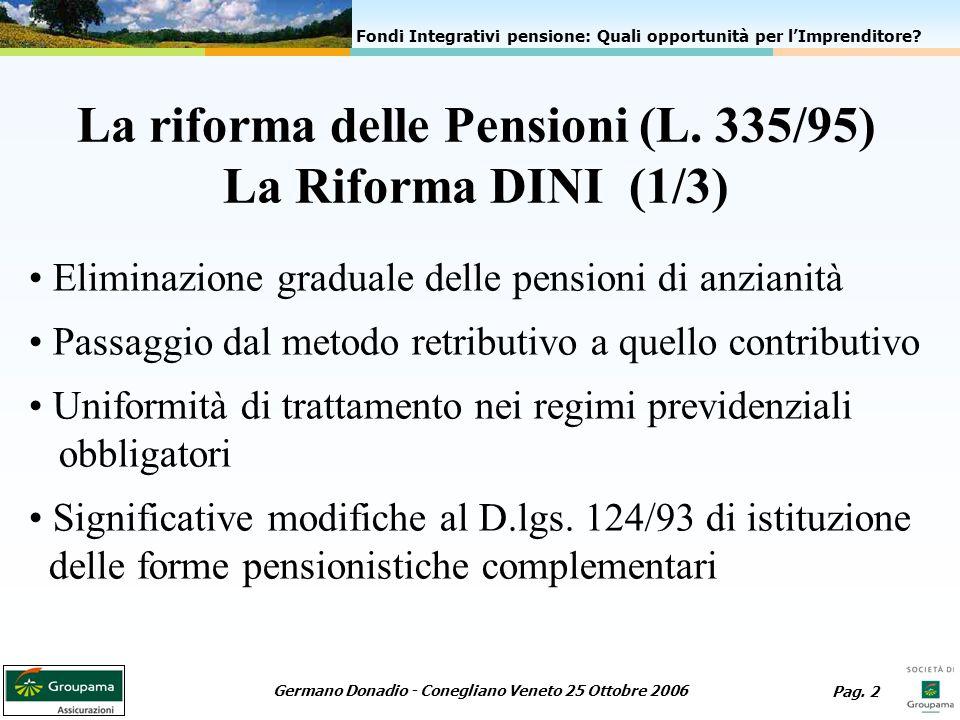 La riforma delle Pensioni (L. 335/95) La Riforma DINI (1/3)
