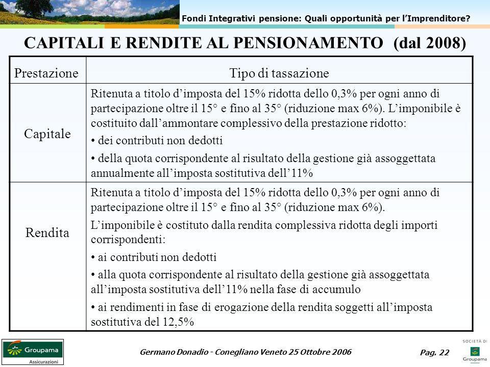 CAPITALI E RENDITE AL PENSIONAMENTO (dal 2008)
