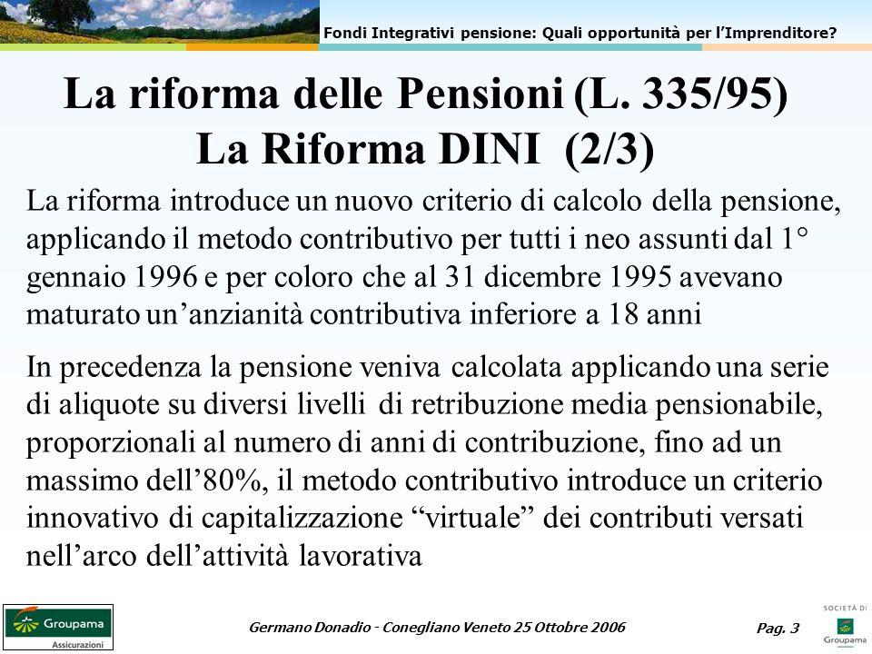La riforma delle Pensioni (L. 335/95) La Riforma DINI (2/3)