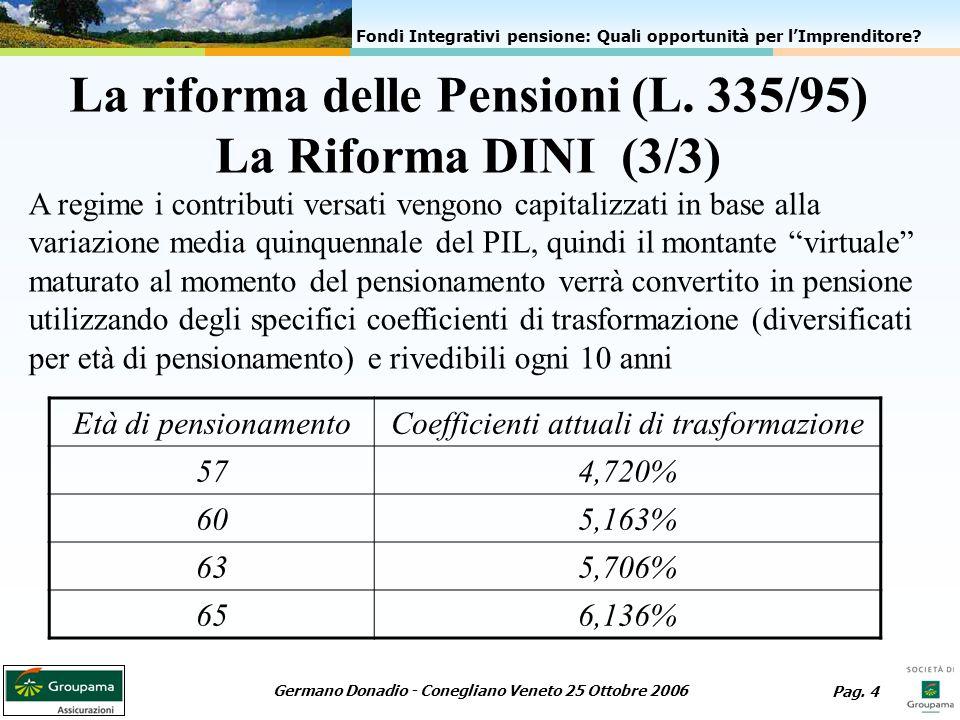 La riforma delle Pensioni (L. 335/95) La Riforma DINI (3/3)