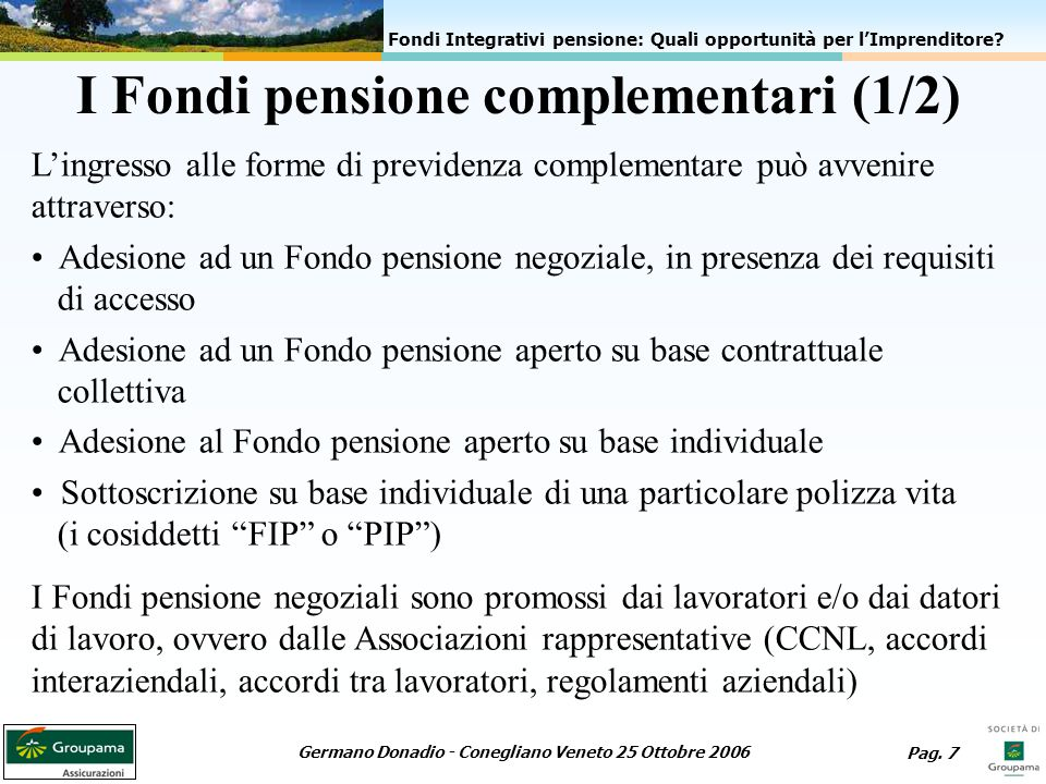 I Fondi pensione complementari (1/2)
