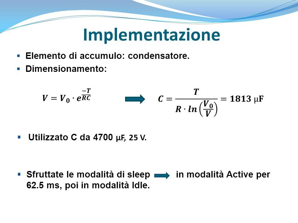 Implementazione Elemento di accumulo: condensatore. Dimensionamento: