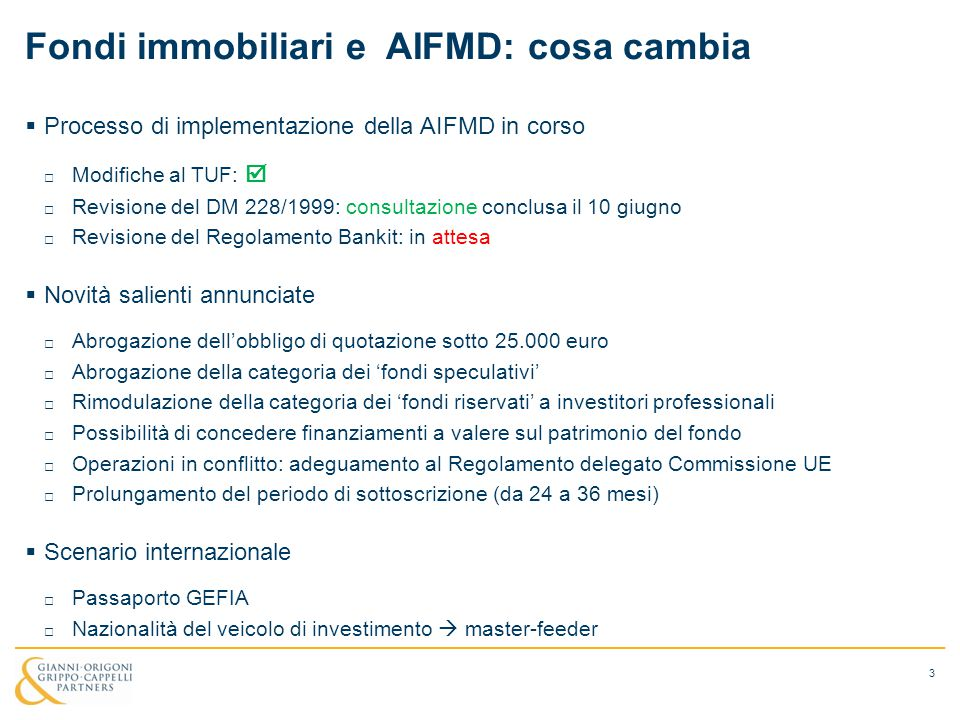 Fondi immobiliari e AIFMD: cosa cambia