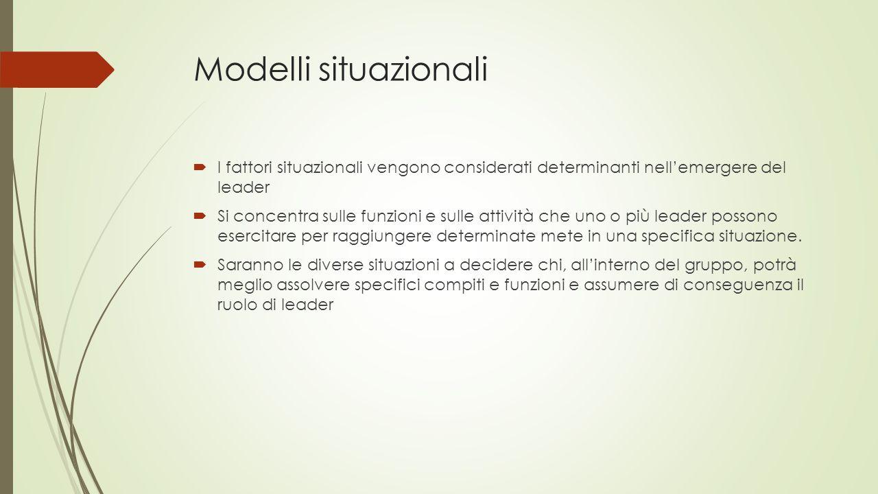 Modelli situazionali I fattori situazionali vengono considerati determinanti nell'emergere del leader.