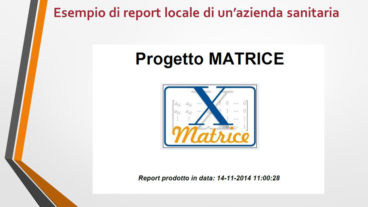 Esempio di report locale di un'azienda sanitaria