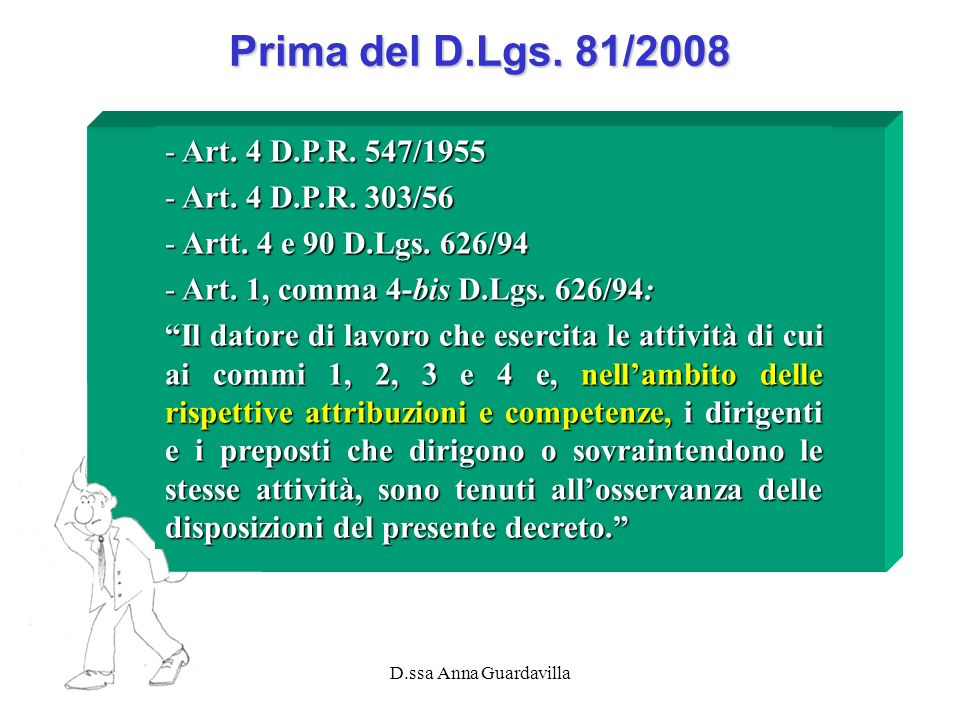 Prima del D.Lgs. 81/2008 Art. 4 D.P.R. 547/1955 Art. 4 D.P.R. 303/56