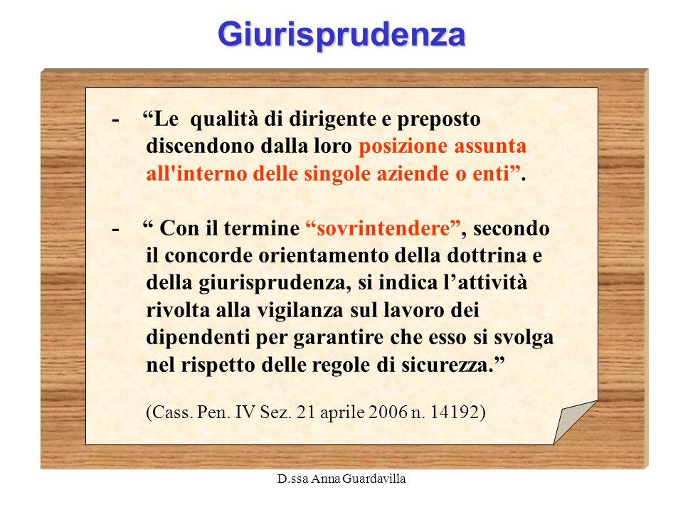 Giurisprudenza - Le qualità di dirigente e preposto discendono dalla loro posizione assunta all interno delle singole aziende o enti .