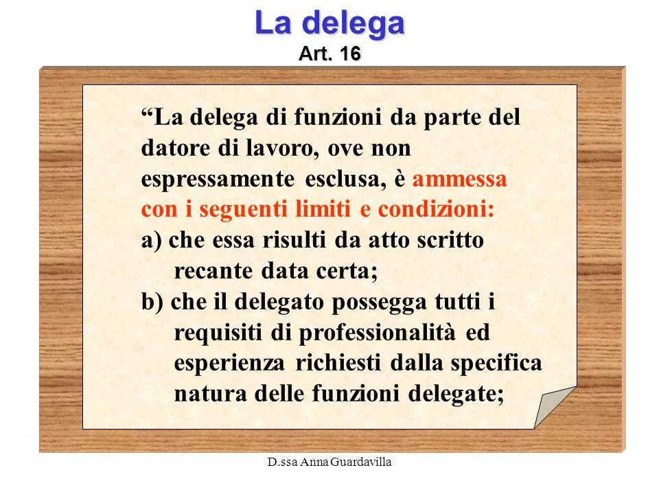 La delega Art. 16 La delega di funzioni da parte del datore di lavoro, ove non espressamente esclusa, è ammessa con i seguenti limiti e condizioni: