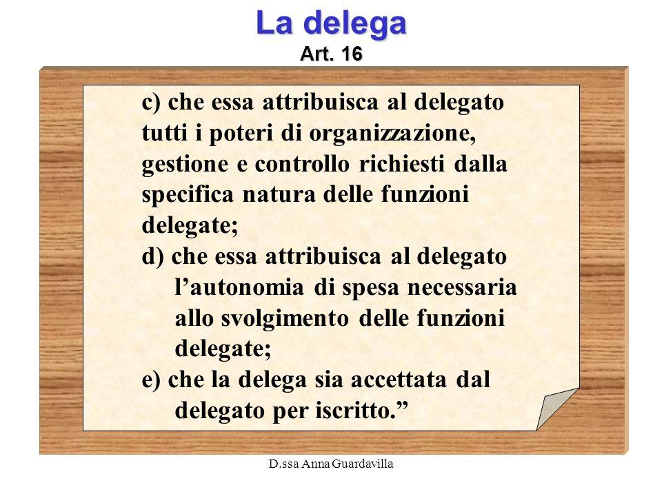 La delega Art. 16