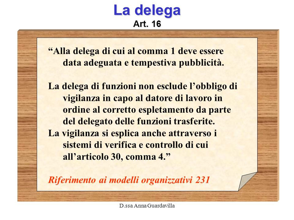 La delega Art. 16 Alla delega di cui al comma 1 deve essere data adeguata e tempestiva pubblicità.