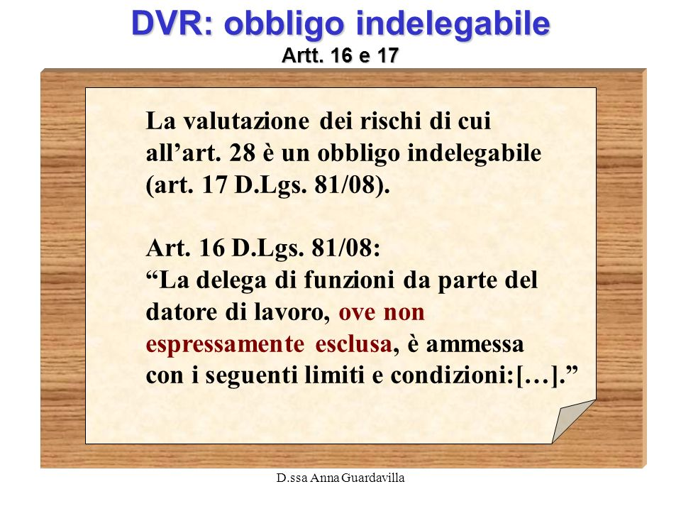 DVR: obbligo indelegabile Artt. 16 e 17