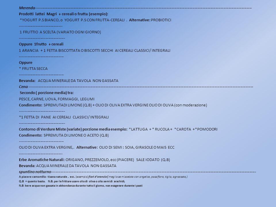Prodotti lattei Magri + cereali o frutta (esempio):