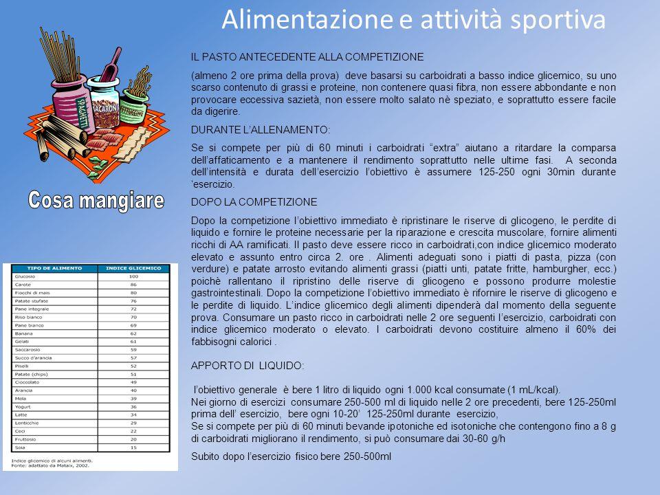 Alimentazione e attività sportiva