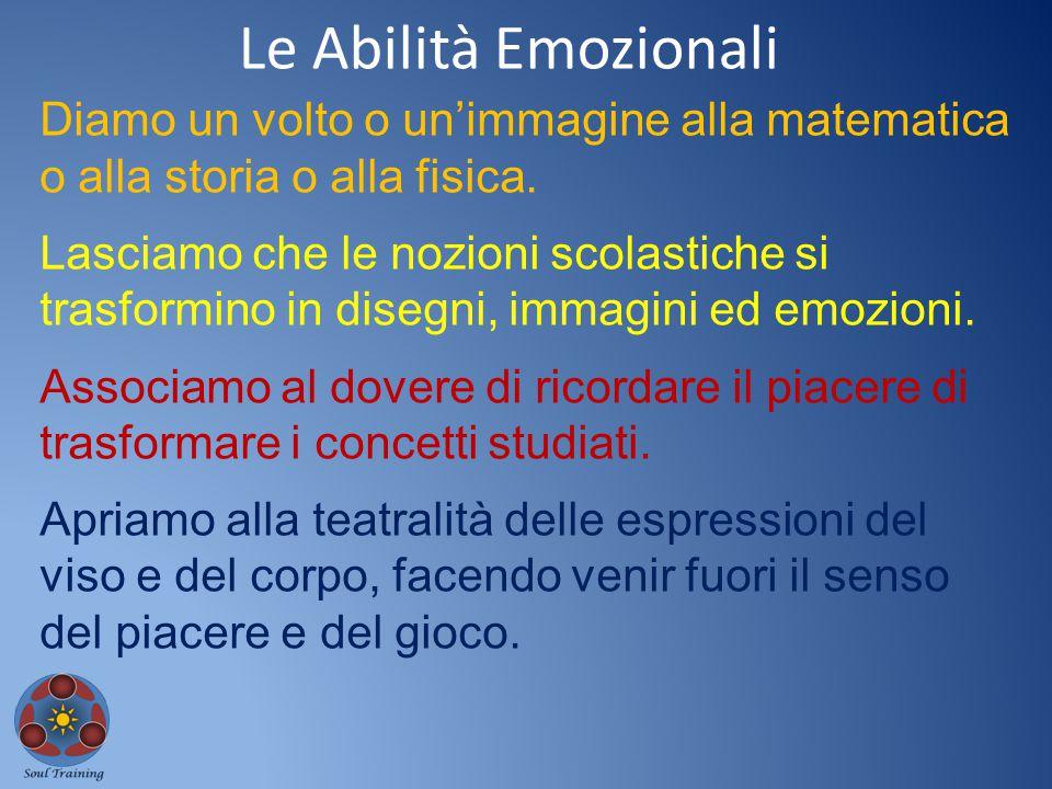 Le Abilità Emozionali Diamo un volto o un'immagine alla matematica o alla storia o alla fisica.