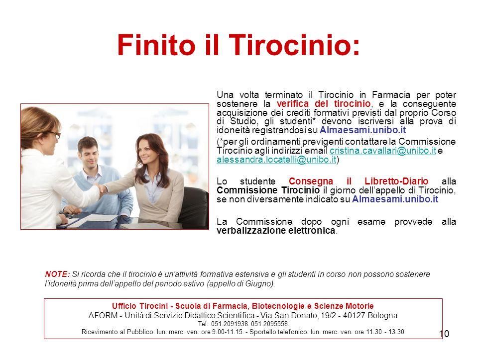 Ufficio Tirocini - Scuola di Farmacia, Biotecnologie e Scienze Motorie
