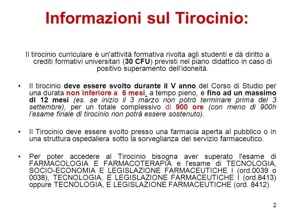 Informazioni sul Tirocinio: