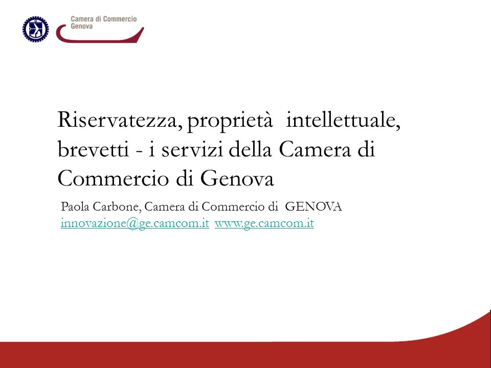 Riservatezza, proprietà intellettuale, brevetti - i servizi della Camera di Commercio di Genova