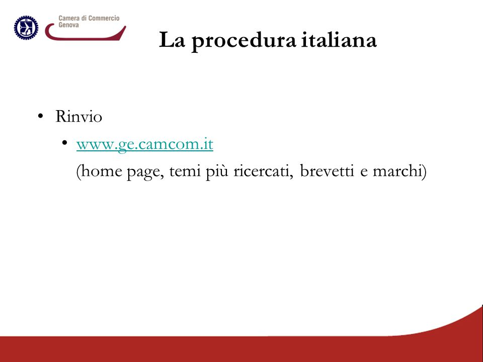 La procedura italiana Rinvio www.ge.camcom.it