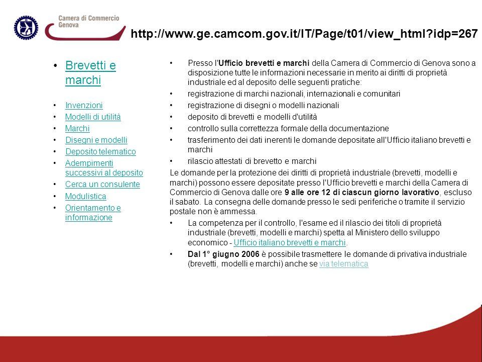 http://www.ge.camcom.gov.it/IT/Page/t01/view_html idp=267 Brevetti e marchi. Invenzioni. Modelli di utilità.