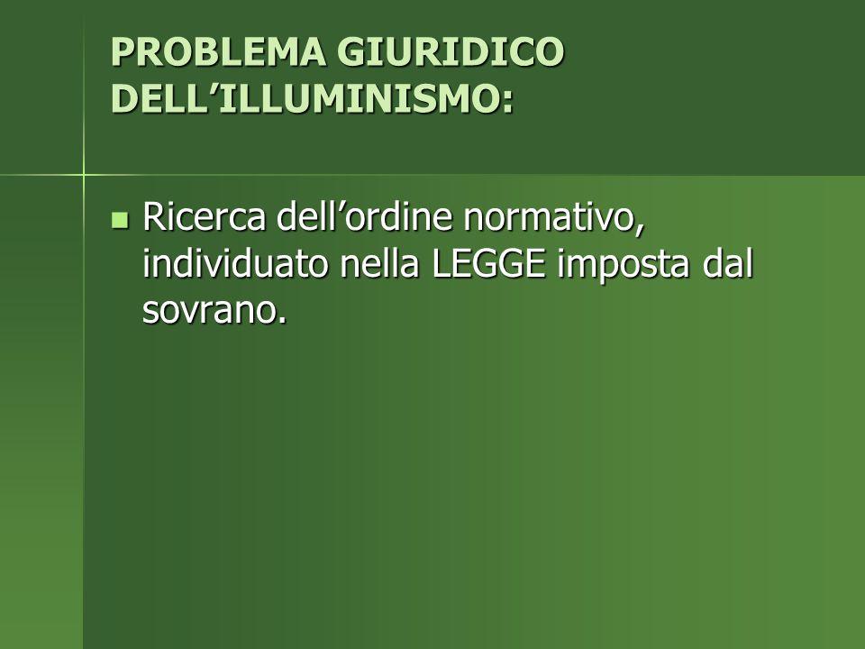 PROBLEMA GIURIDICO DELL'ILLUMINISMO:
