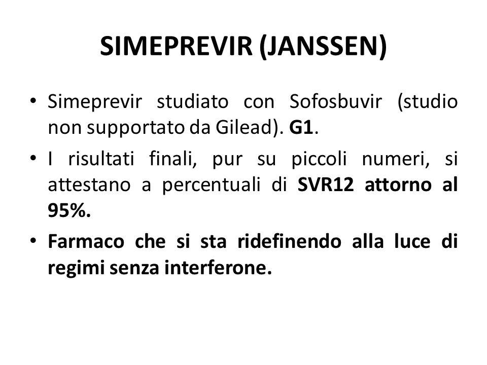 SIMEPREVIR (JANSSEN) Simeprevir studiato con Sofosbuvir (studio non supportato da Gilead). G1.