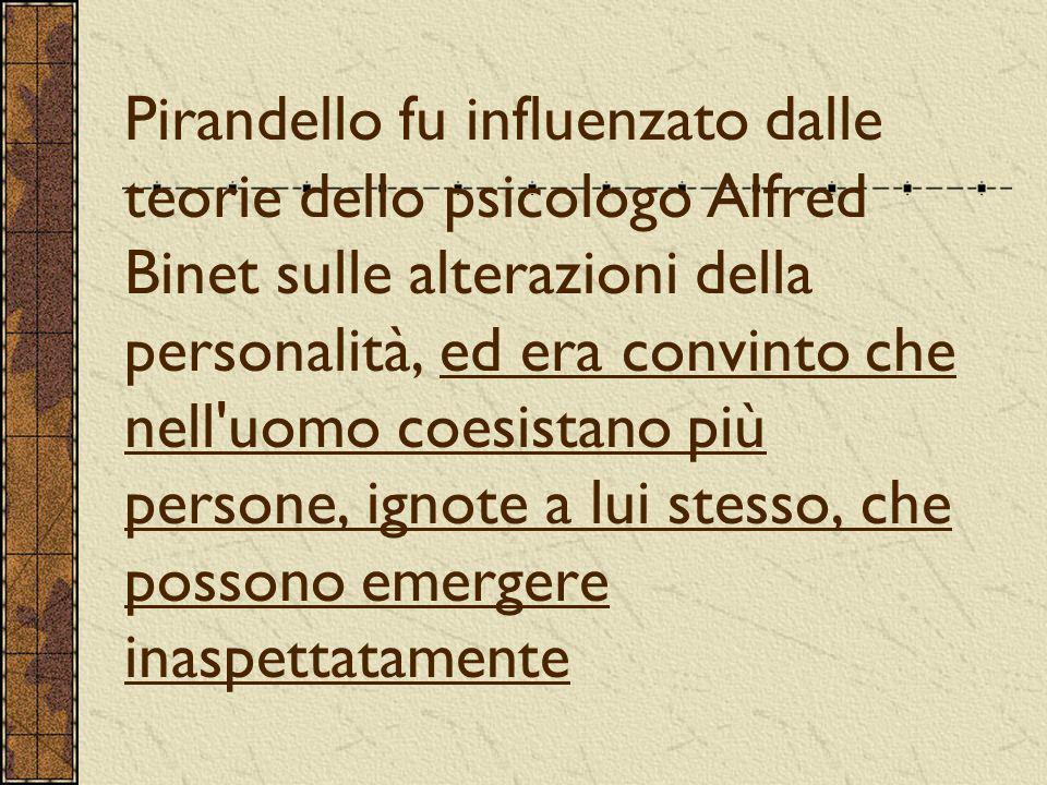 Pirandello fu influenzato dalle teorie dello psicologo Alfred Binet sulle alterazioni della personalità, ed era convinto che nell uomo coesistano più persone, ignote a lui stesso, che possono emergere inaspettatamente